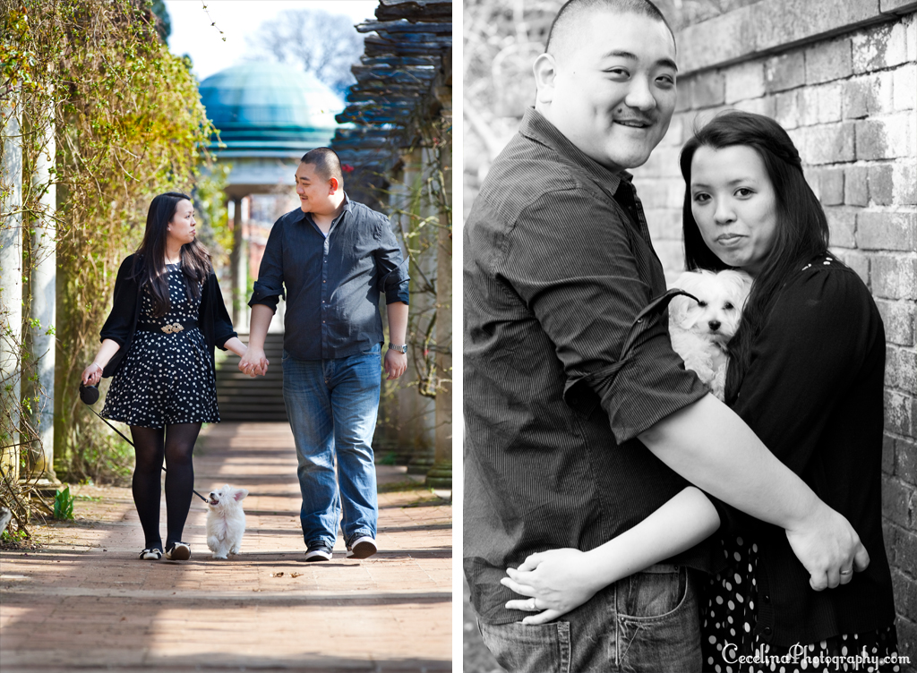 Couple With Dog Engagement Garden Photo
